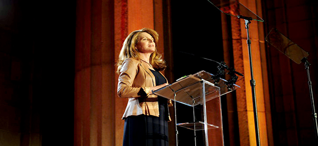 Her Majesty Queen Noor of Jordan delivering speech to the audience