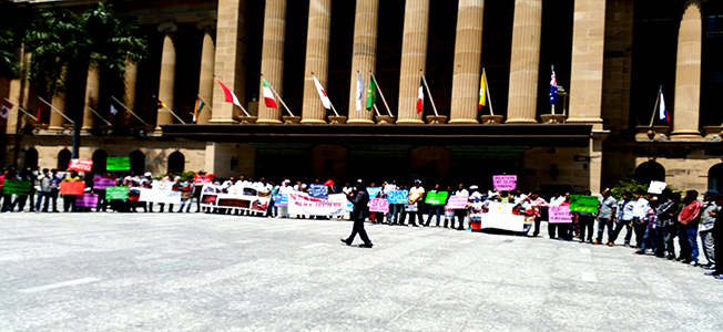 The Queensland Rohingya community gathered in front of King George Square in Brisbane, Australia