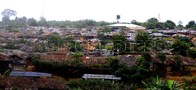 Kutupalong unregistered refugee camp overview in rainy season